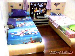 pembuatan setting kamar tidur anak konsep minimalis - contoh hasil-hasil produksi setting desain interior dari bengkel kerja Tris Workshop