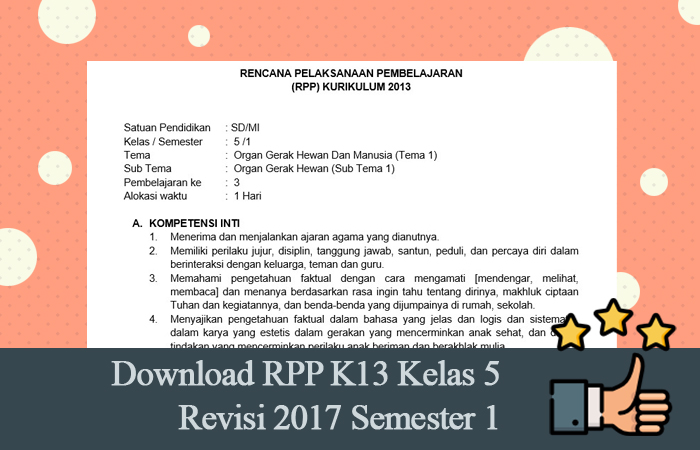 Download RPP K13 Kelas 5 Revisi 2017 Semester 1