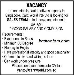 Lowongan Kerja PT. Carz World Pte Ltd