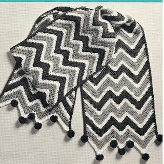 Striped Scarf Crochet Pattern with Pompoms