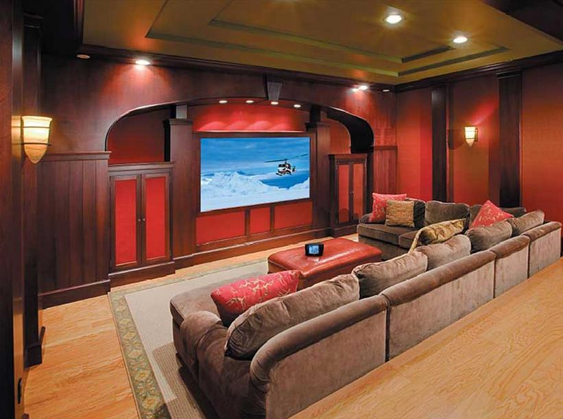 Home Theater Installation Design With Red Wall Paint Ideas For