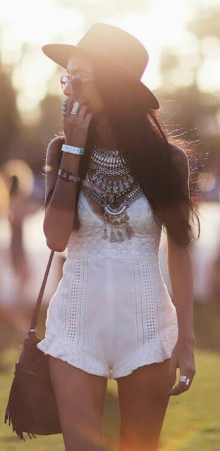 Boho Necklace + Fringe Bag + Crochet Romper - Coachella Style Festival Fashion