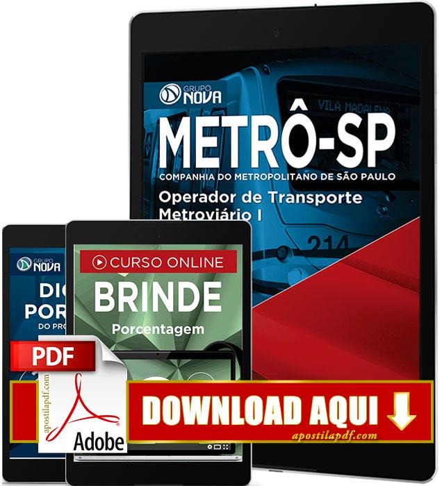 Apostila METRÔ SP 2016 PDF Download Operador Transporte Metroviário