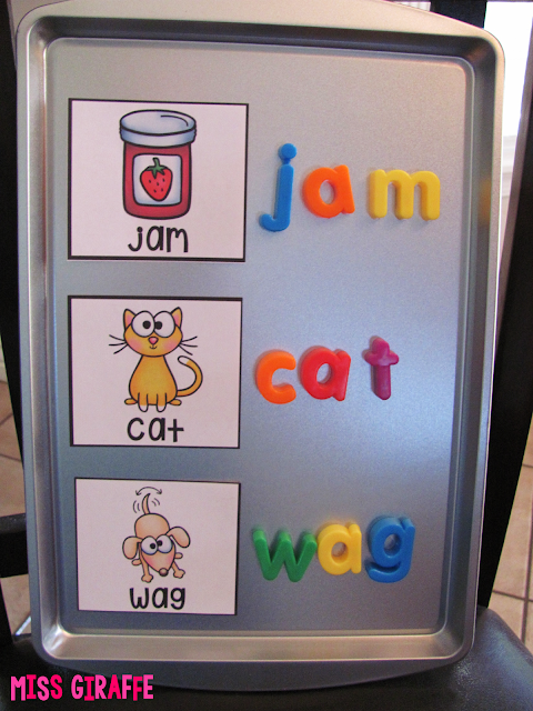 Use a magnetic cookie sheet from the dollar store to build words (lots of ideas on this post for word work and short vowels)