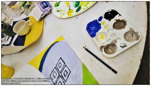 Gambar peralatan melukis warna air, pensil, kanvas lukisan, cawan, botol air mineral.