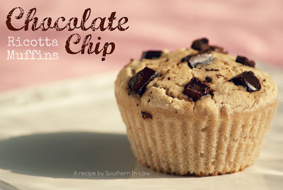 Low Fat Chocolate Chip Ricotta Muffins