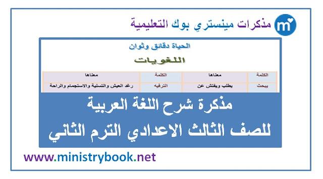 مذكرة شرح اللغة العربية للصف الثالث الاعدادي الترم الثاني 2019-2020-2021-2022-2023-2024-2025