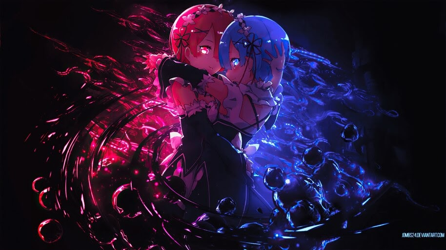 Ram, Rem, Re:Zero, Anime, Girl, 4K, #4.2715