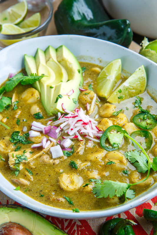 Pozole Verde de Pollo (Green Mexican Hominy and Chicken Soup)