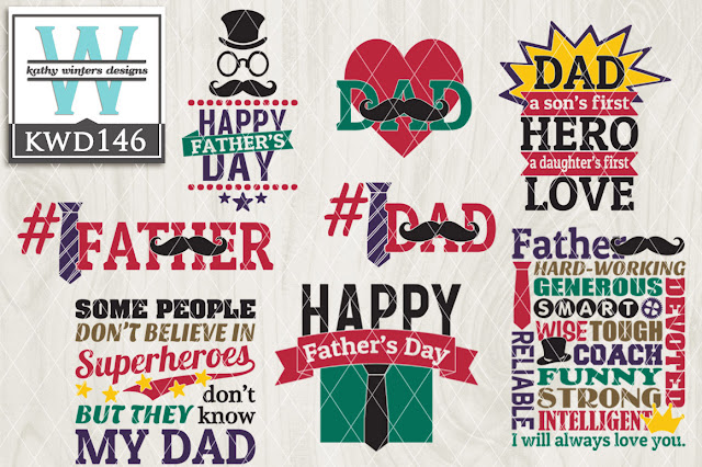 Commercial Use Father's Day Design files downloads Silhouette CAMEO