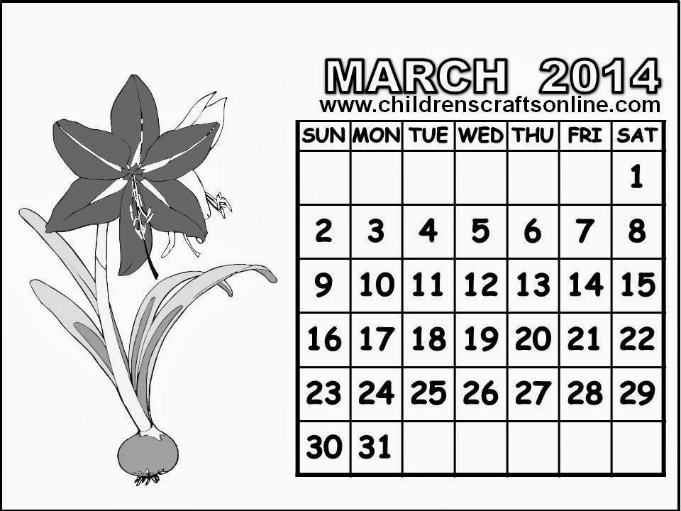 Free calendar april coloring pages