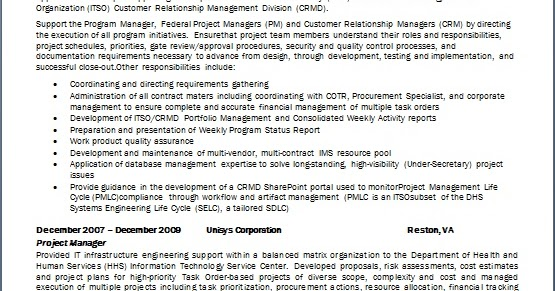 Deputy Program Manager Resume Format In Word Free Download