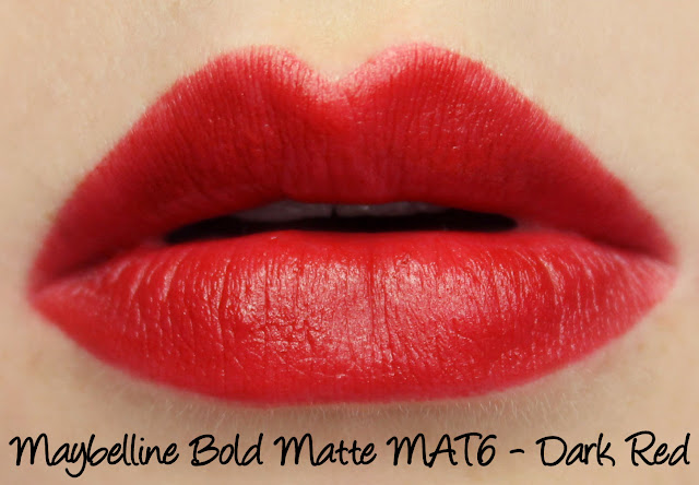 Maybelline Bold Matte Lipstick - Mat6 Dark Red Swatches & Review
