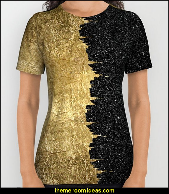 Faux Gold & Black Starry Night  Fashion style clothing - cute designs - modern woman dress style - pretty fashion vintage style - fashion boutique - dresses - tops - jackets -  jeans - pants - party dress - womens clothes - girls clothes - Scarf necklace - decorate yourself