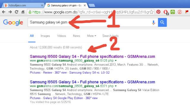 Busqueda de Samsung Galaxy S4 en Google