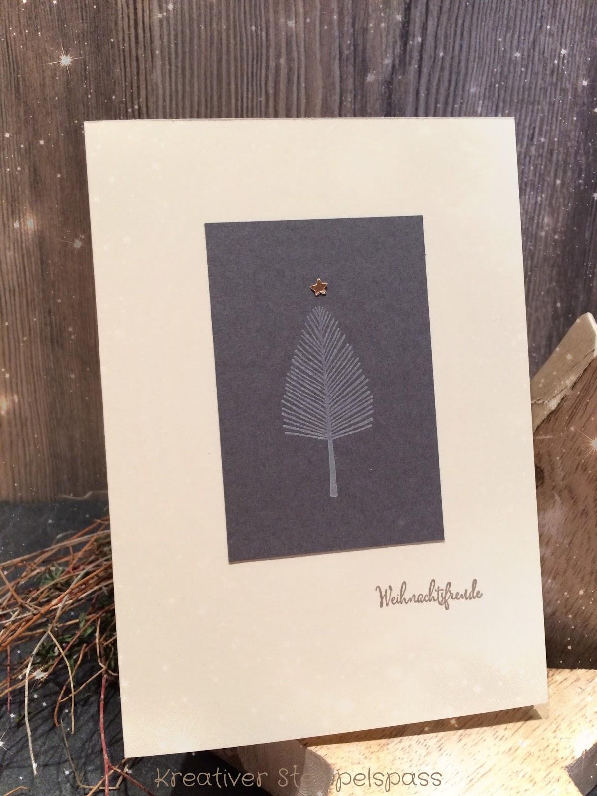 In meiner aktuellen Lieblingsfarbkombi Vanille Pur Anthrazit Taupe und Kupfer sind auch se Weihnachtskarten entstanden