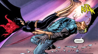 Image of Batgirl (Barbara Gordon) taking down a bad guy with a typically gymnastic vaulting move
