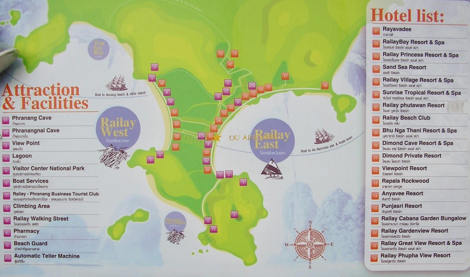 Mapa de Railay beach via Tezzas Thai Info
