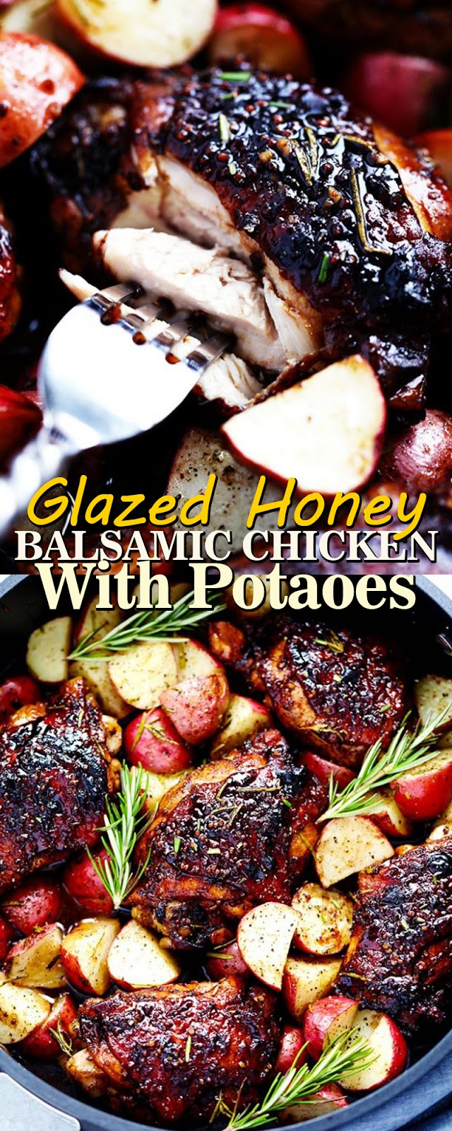 GLAZED HONEY BALSAMIC CHICKEN WITH POTATOES