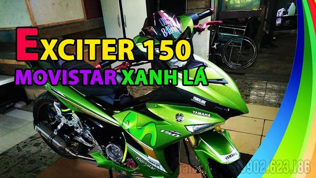 Sơn tem đấu xe Exciter 150 xanh lá Movistar