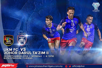 Live Streaming UKM FC vs JDT II Challenge Cup 24.9.2018