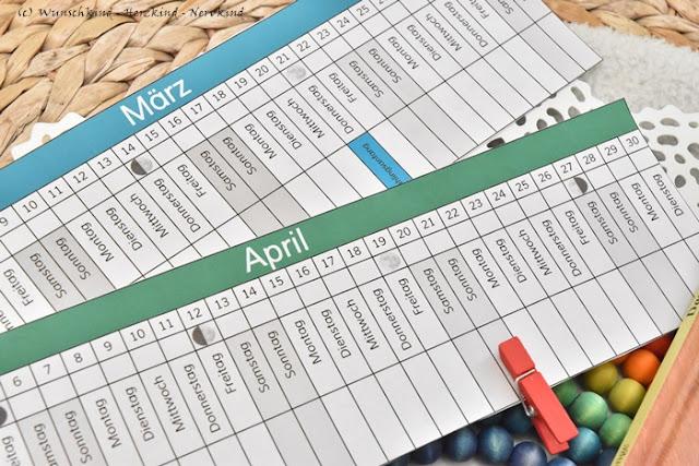Der lineare Montessori-Mond-Kalender erklärt wann Ostern ist und enthält alle Mondphasen des Jahres.