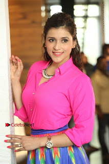 Actress Mannar Chopra in Pink Top and Blue Skirt at Rogue movie Interview  0132.JPG