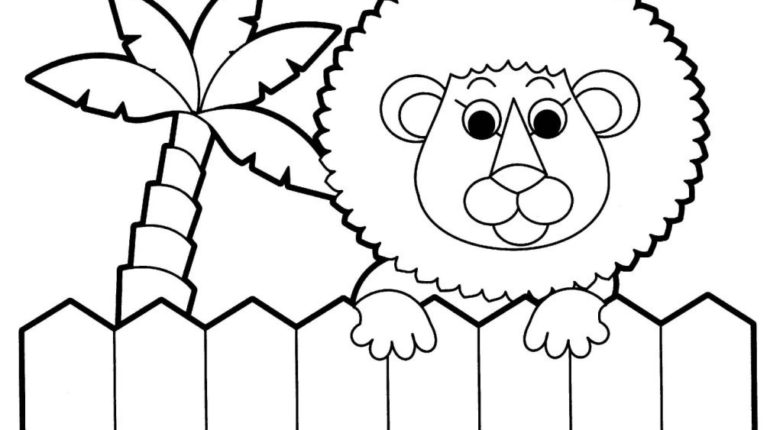 Cute Baby Jungle Lion At Zoo Animal Coloring Page For Kids Online