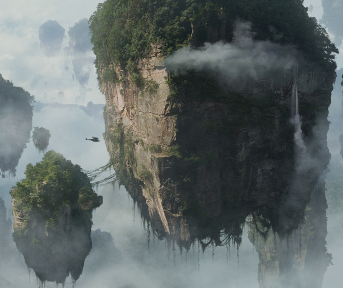 Pandora - Floating Mountains Covered in Vegetation - Source: AvatarMovie.com