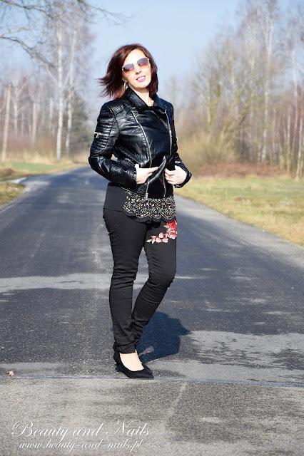 ROSEGAL | czarna skórzana kurtka, bluzka i rozświetlacz.