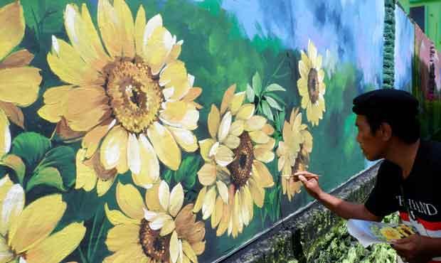 mural bunga