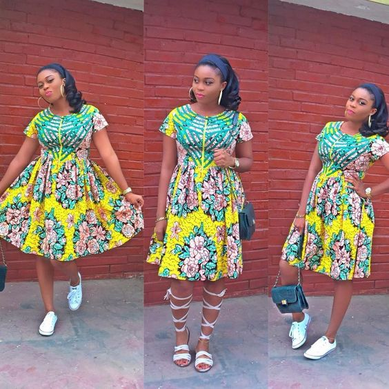 Beautiful Ankara Short Flare Gowns with Front Zip for Super Cute ...