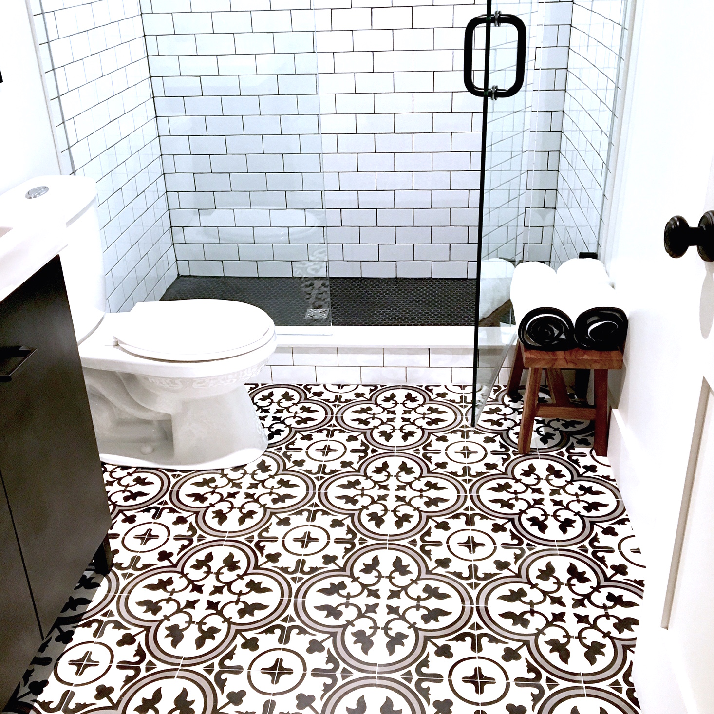 Wayfair floor tile youll love harlow thistle home design now this black and white basement bathroom is my cool in an otherwise chaotic sticky toddler filled life see more pics here dailygadgetfo Choice Image