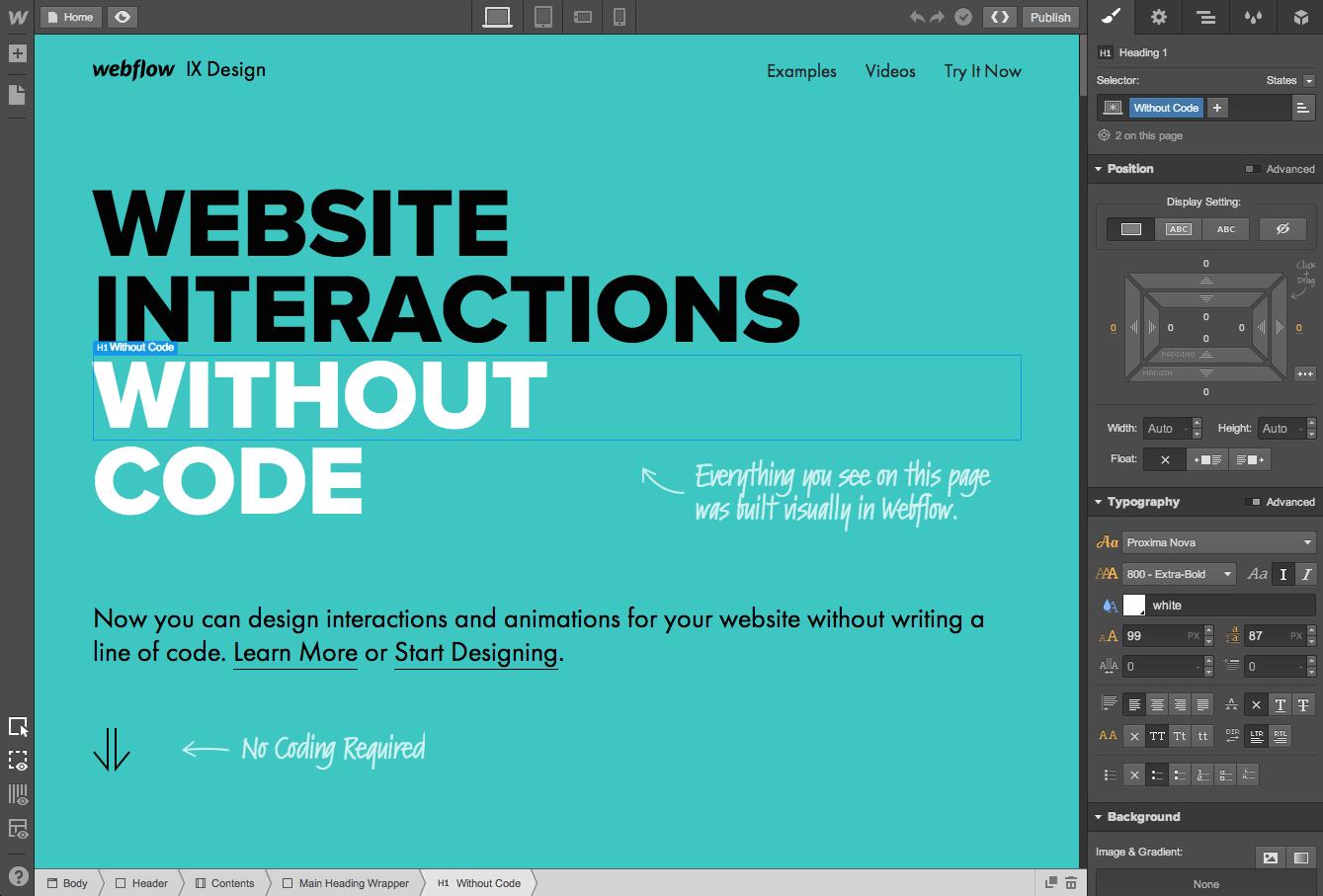 Webflow, la herramienta para crear sitios web profesionales gratis - Interfaz de diseño