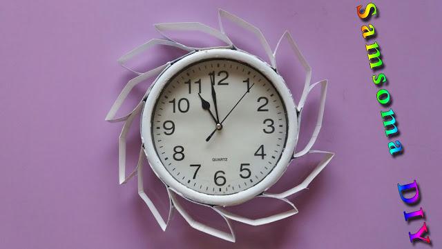تزيين ساعة حائط . طريقة تزيين ساعة حائطية   . كيفية تزيين ساعة الحائط  . diy wall clock decor.  DIY Designer Wall Clock .   .  Room Decor Idea . تجديد ساعة الحائط .