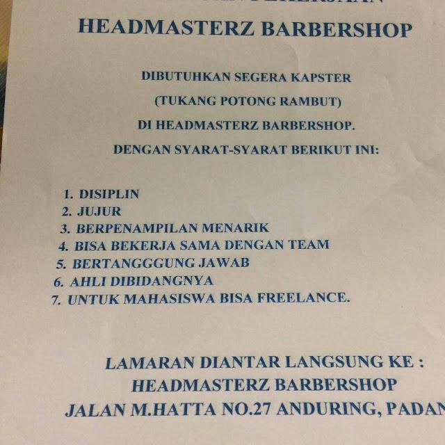 Lowongan Kerja Padang: Headmasterz Barbershop April 2017