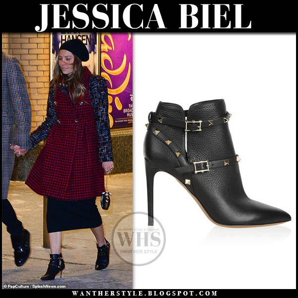 Jessica Biel in burgundy tweed chanel coat and black leather valentino rockstud ankle booties celebrity style january 30