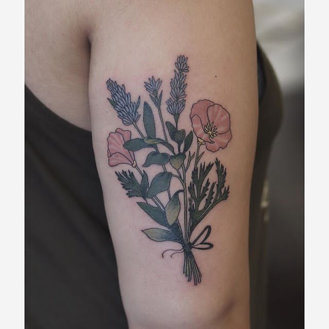 upper arm Lavender Plant Tattoo