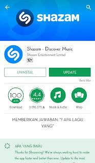 membantu anda untuk mengetahui judul lagu. dengan cara anda dekatkan smartphone anda dengan sumber suara musik itu, kemuadian shazam akan otomatis mendetek dan mencari judul dari musik itu.