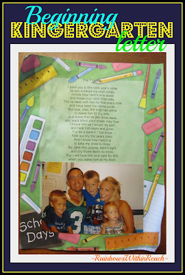 photo of: Welcome to Kindergarten Letter for Parents, Poem for Kindergarten