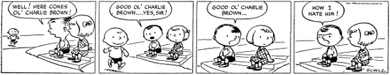 First daily strip of Peanuts