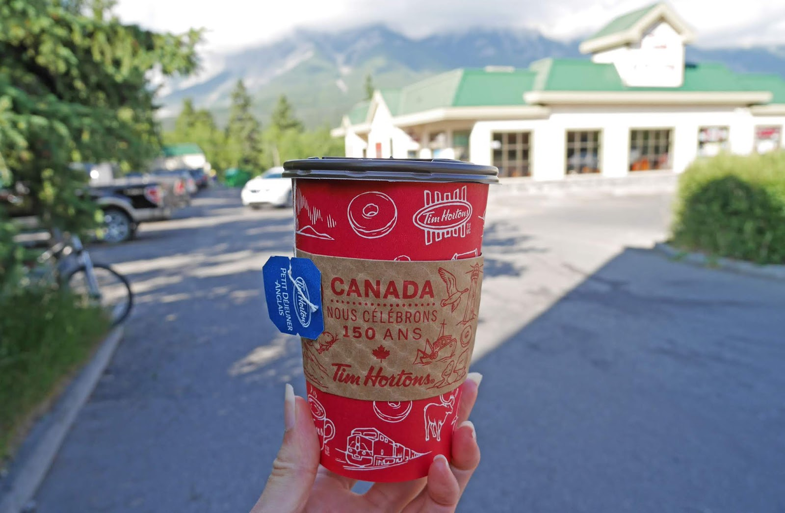 A cup of tea at Tim Horton's in Banff National Park, Alberta