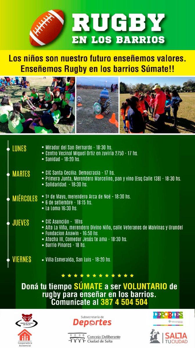 SUMATE al rugby en los barrios, cronograma de actividades