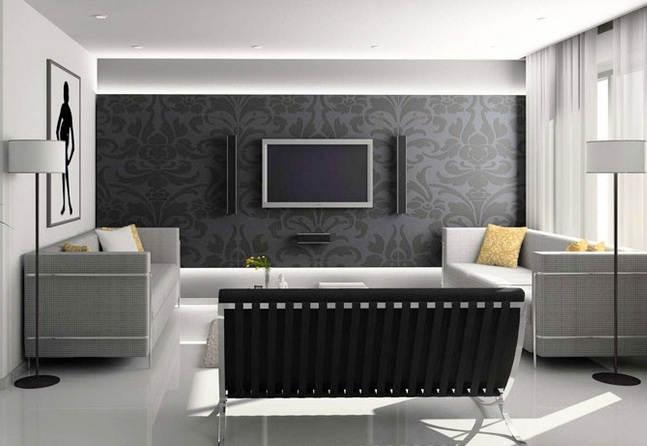 Cat Dinding Ruang Tamu Kombinasi Wallpaper