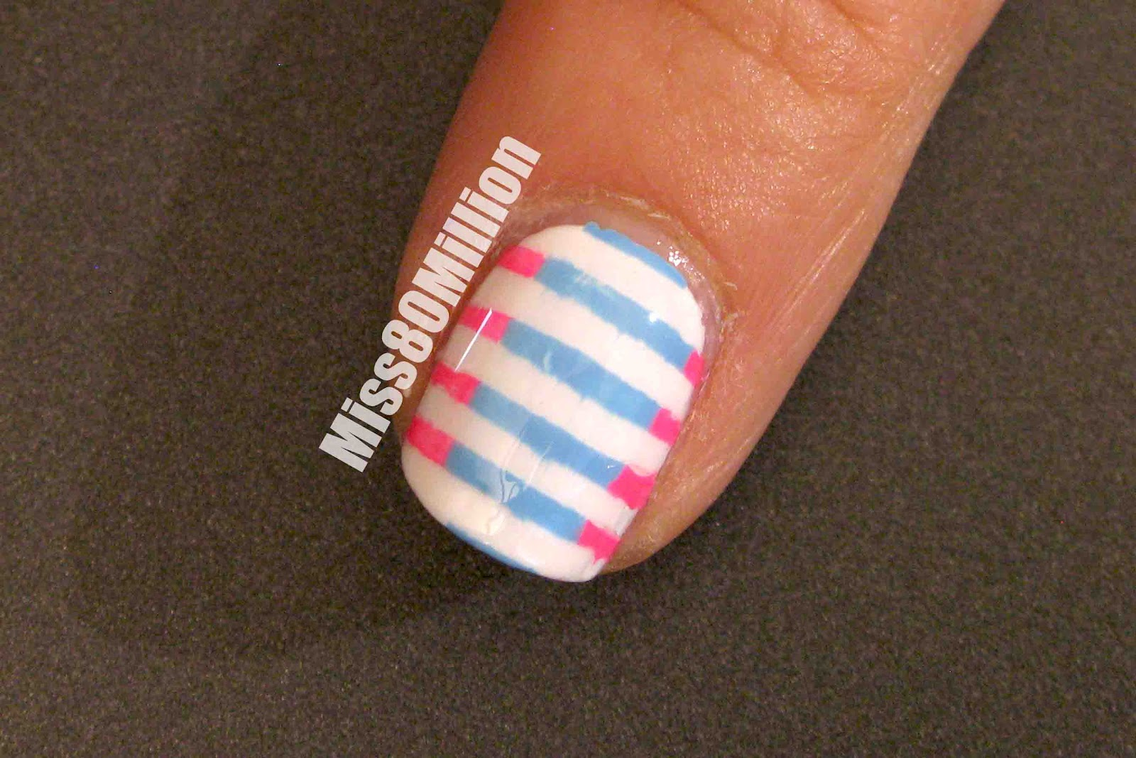 Miss80million Pink And Blue Stripes Back To School Nail Art Tutorial