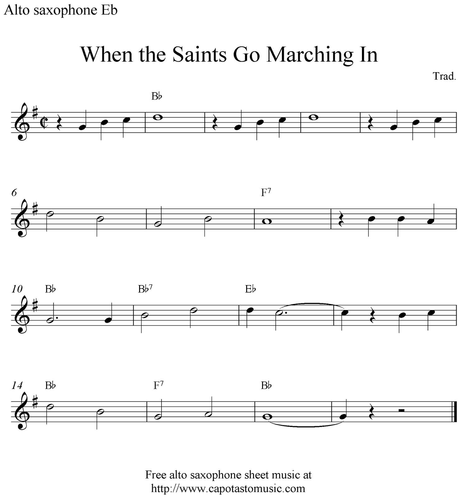 When The Saints Go Marching In Free Alto Saxophone Sheet Music Notes