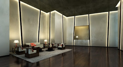 LED indirect lighting hidden in false ceiling and walls