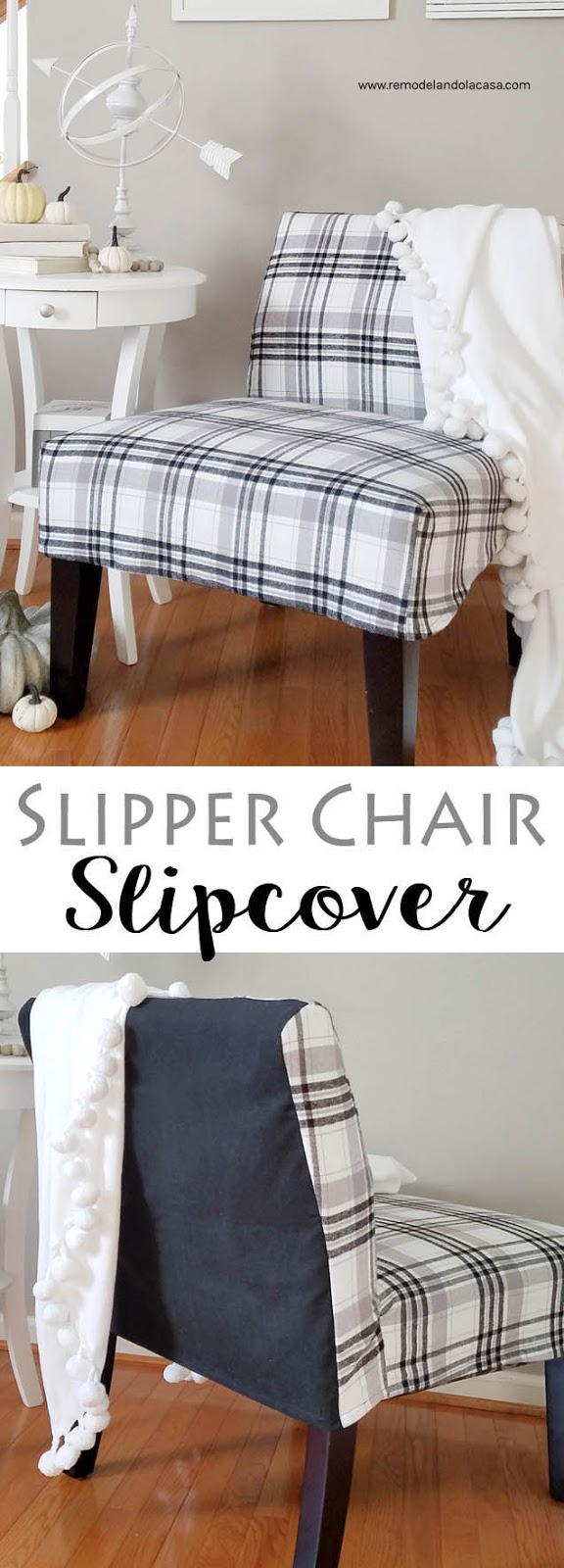 how to sew a slipcover - dual tone, black and white plaid fabric, oak floors