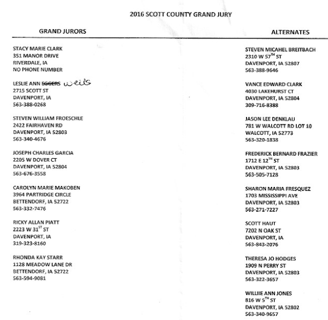 Scott County Iowa 2016 Grand Jury Contact List