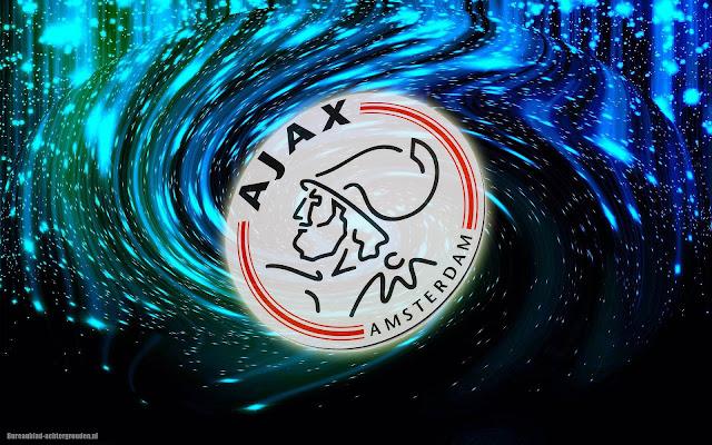 Abstract zwart blauwe Ajax achtergrond met logo